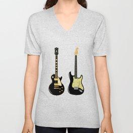 Black Guitar Duo Unisex V-Neck