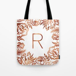 Letter R - Faux Rose Gold Glitter Flowers Tote Bag