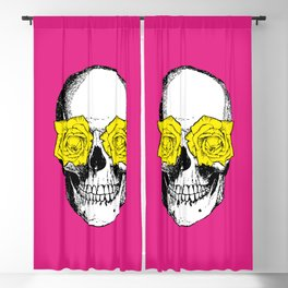 Skull and Roses | Skull and Flowers | Vintage Skull | Pink and Yellow | Blackout Curtain