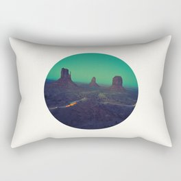 Mid Century Modern Round Circle Photo Graphic Design The Grand Canyon With Green Sunset Sky Rectangular Pillow
