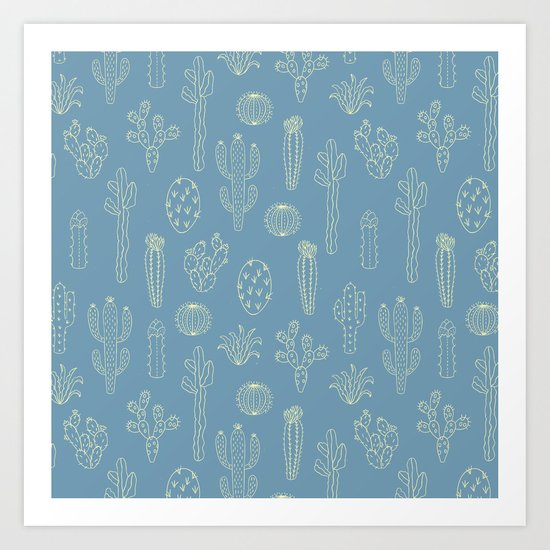 Cactus Silhouette Blue Art Print