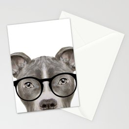 Pit bull with glasses Dog illustration original painting print Stationery Cards