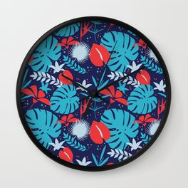 Colorful tropical pattern. Wall Clock