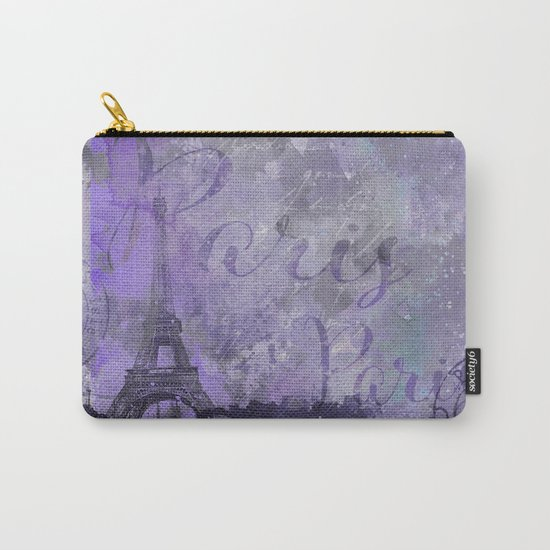 Purple Paris mixed media art Carry-All Pouch