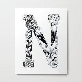 Floral Pen and Ink Letter N Metal Print