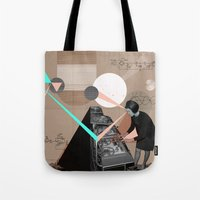 superheroes Tote Bags featuring Superheroes SF by Natalie Nicklin