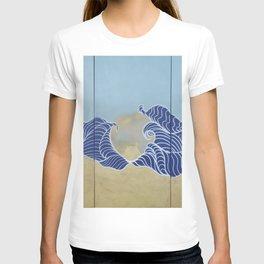 Japanese wall art Large painting J055 Fuji sea sun Japan mid century modern art by artist Ksavera T-shirt