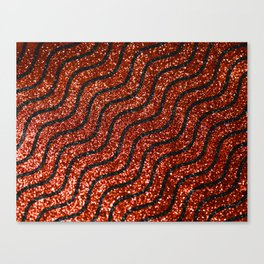Red Glitter With Black Squiggle Pattern Canvas Print