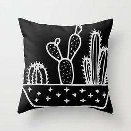 Cactus Planter Gray on Black Throw Pillow
