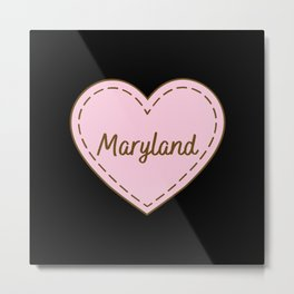 I Love Maryland Simple Heart Design Metal Print