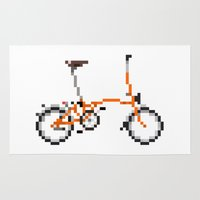 brompton Area & Throw Rugs featuring Pixel Art Brompton bicycle - Orange by PixelArtM