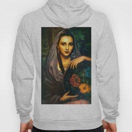 Jesus Helguera Painting of a Calendar Girl with Dark Shawl Hoody