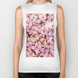 Pastel pink lilac botanical hydrangea floral Biker Tank