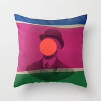 magritte Throw Pillows featuring Magritte by Naomi Vona