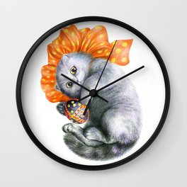 Easter Kitten Wall Clock