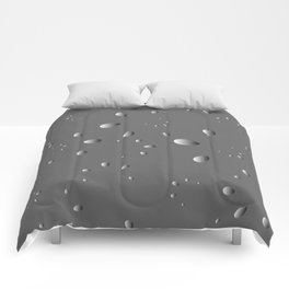 Glowing drops and petals on a gray background in nacre. Comforters