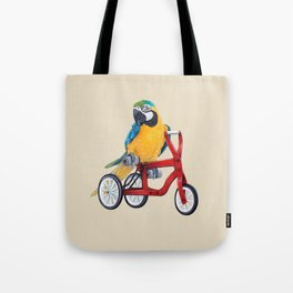 Parrot macaw on red bike Tote Bag