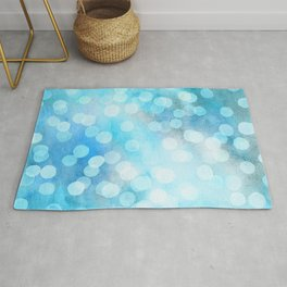 Turquoise Snowstorm - Abstract Watercolor Dots Rug