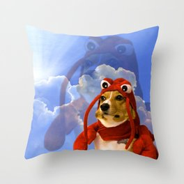 Lobster Corgi Throw Pillow