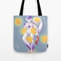 dbz Tote Bags featuring DBZ Frieza  by Whimsette