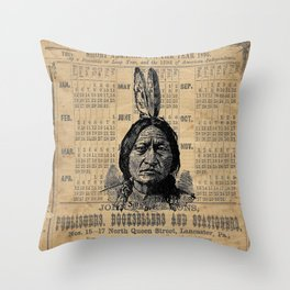 Sitting Bull Native American Chief  Throw Pillow