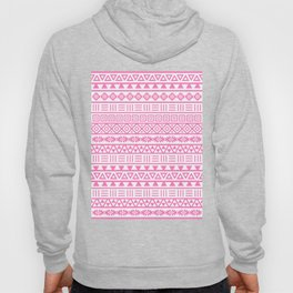 Aztec Influence Pattern Pink on White Hoody