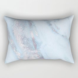 Light Blue Gray Marble Rectangular Pillow
