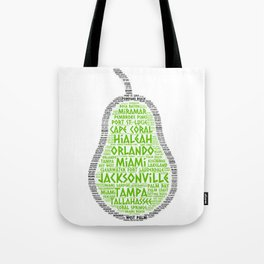Pear Fruit illustrated with cities of Florida State Tote Bag