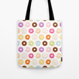 Happy Cute Donuts Pattern Tote Bag