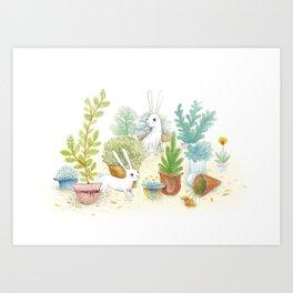 Hat pots and Bunnys Art Print