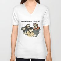 beastie boys V-neck T-shirts featuring Where The Beastie Things Are by Derek Salemme