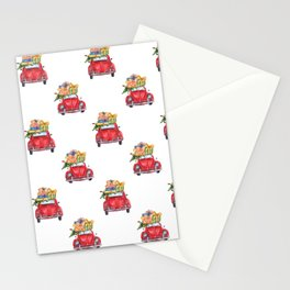 Santa Claus christmas car in winter forest I Stationery Cards