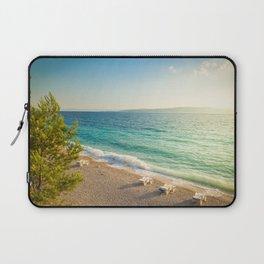 Beach in croatian coast, blue sea. Aerial view Laptop Sleeve