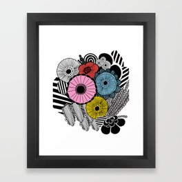 Heart in Flowers, inspired by Marimekko Framed Art Print