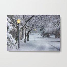 Street Lamp in the Snow Metal Print