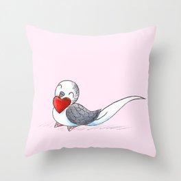 Little Budgie Heart Throw Pillow