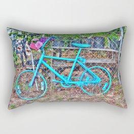 Turquoise Bicycle Rectangular Pillow