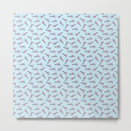 Seamless pattern with paper airplanes. Squared paper. Metal Print
