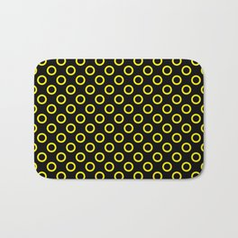 Yellow Rings with Black Background Bath Mat