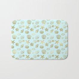 Blue Mint Gold Sea Shells Bath Mat