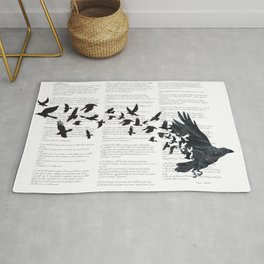 Vintage Style Print with Poem Text Edgar Alan Poe: Edgar Alan Crow Rug