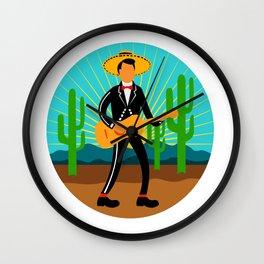 Mexican Mariachi in Desert Circle Retro Wall Clock