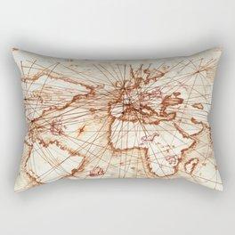 Vintage route map of the world - Leonardo Da Vinci Rectangular Pillow