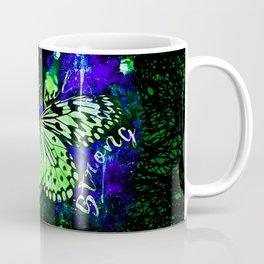 butterfly beautiful strong free splatter watercolor blue green Coffee Mug