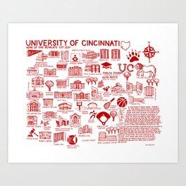Cincinnati College Map White and Red Art Print