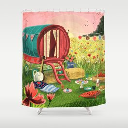 Gypsy Caravan at Sunset Shower Curtain