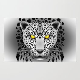 White Leopard with Yellow Eyes Rug