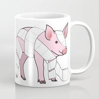 piglet Mugs featuring Piglet by Doctor Hue