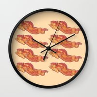 bacon Wall Clocks featuring Bacon by Spooky Dooky