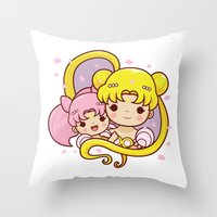 sailormoon Throw Pillows featuring Sailor Moon Princesses by Azul Piñeiro